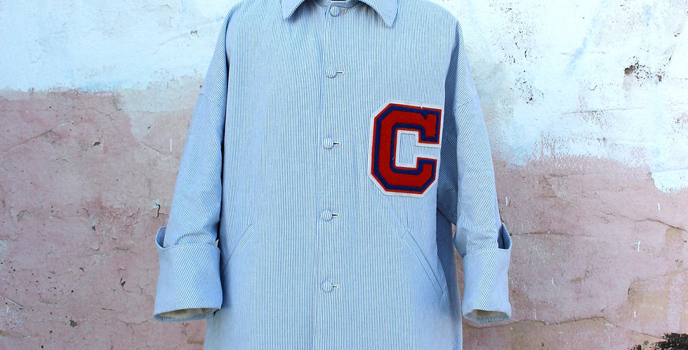 Vintage Oxford Golf Cart Coat [ blue & white ]