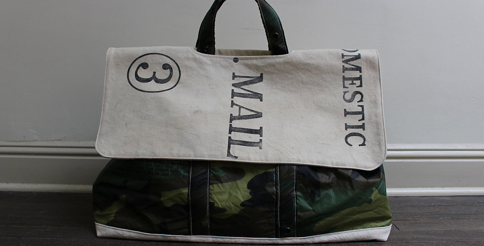 camo and us mail tote