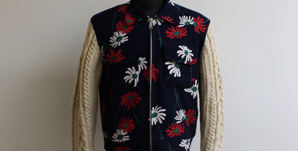 Vintage flower rayon x fisherman knit