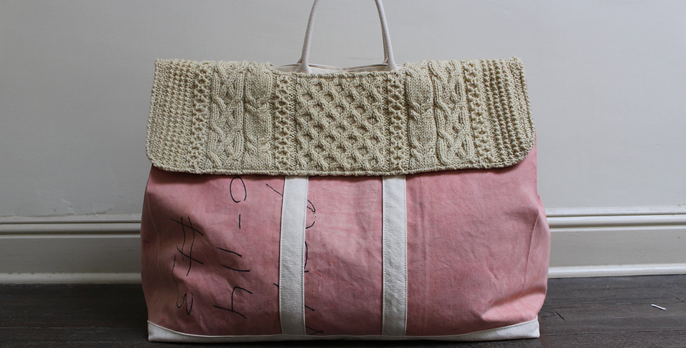 pink canvas and fisherman tote
