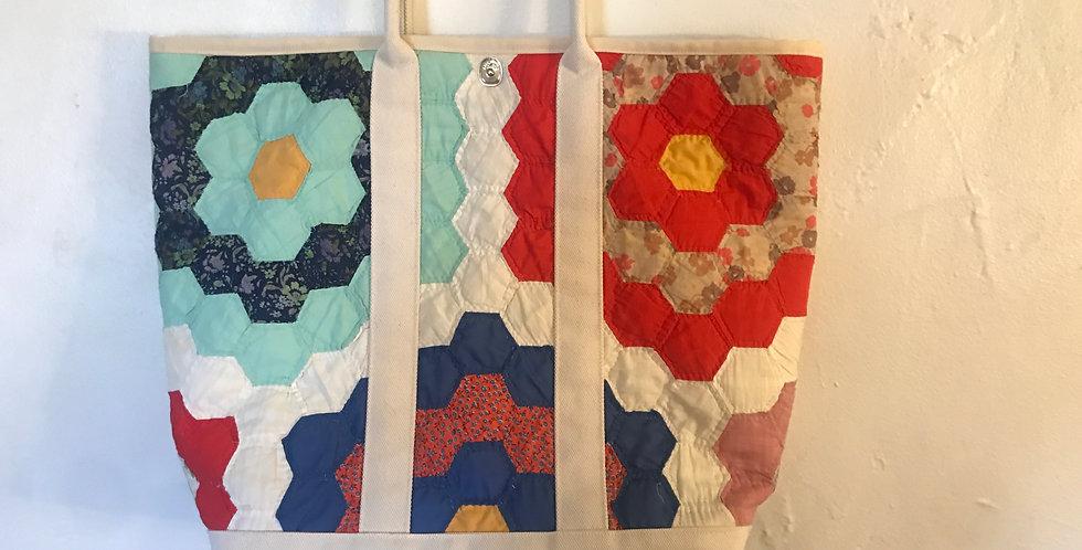 Vintage quilt market bag small