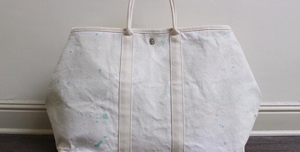 pastel painted canvas market bag