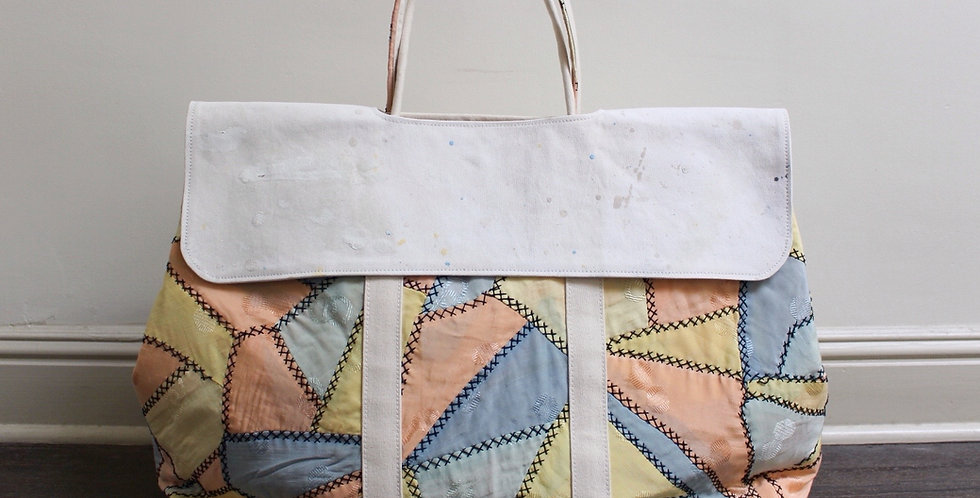 vintage pastel quilt market bag