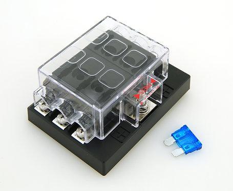 ATC Fuse block, 6 ways, Screw connect, w. Power Input