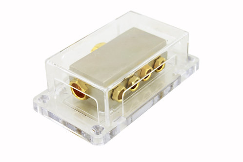 Power Distribution Block, 1x0ga, 2x4ga, 4x8ga. Brass