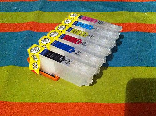 6 Cartouches rechargeables T2431-T2432-T2433-T2434-T2435-T2436 vides