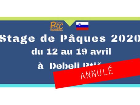 Stage de Pâques 2020 -13 et -15 ans en Solvénie - ANNULE
