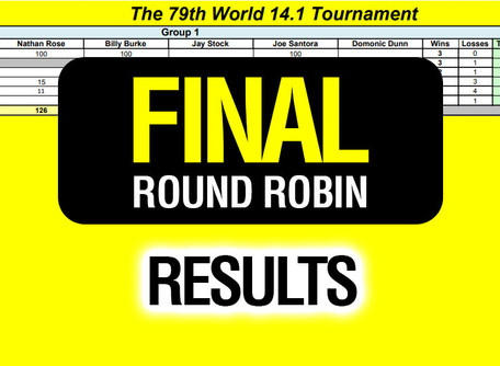 FINAL Round Robin Results - 79th World 14.1