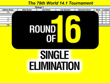 Round of 16 Single Elimination Results - 79th World 14.1