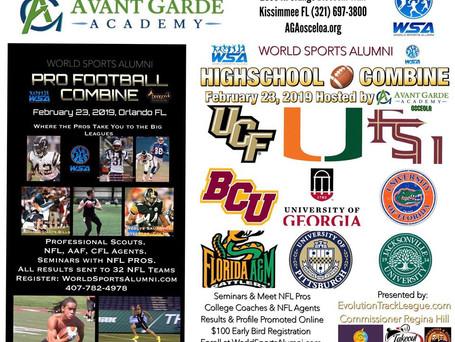 Parents: HIGH SCHOOL COMBINE! Avant Garde Academy Hosts WSA PRO FOOTBALL & COLLEGIATE COMBINE Fe