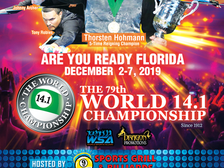 FLORIDA BOUND! The 79th World 14.1 on December 2-7, 2019