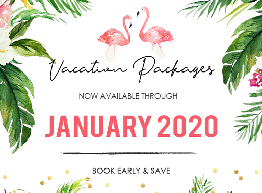 Hello 2020! Vacation Package now available through January 2020!