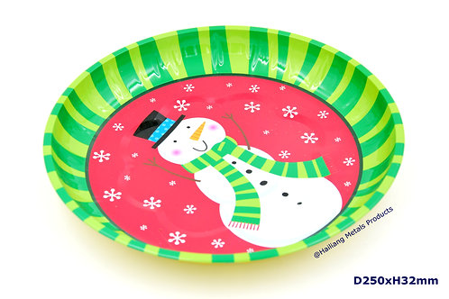 Cute Snowman Printed Christmassy Round Tray