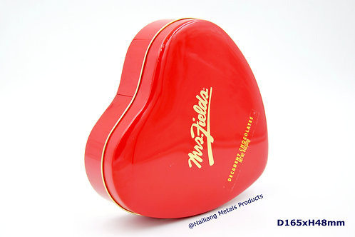 Mrs. Fields Heart Shaped Chocolate Tin Container, Emobossed