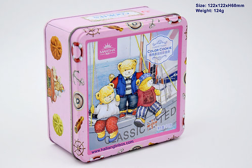 Embossed Martha Classic Teddy Color Cookie Tin Box