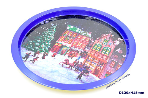 Decorative Christmas Round Tin Tray