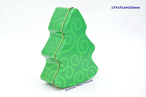 Tree Shaped Christmassy Tin Container
