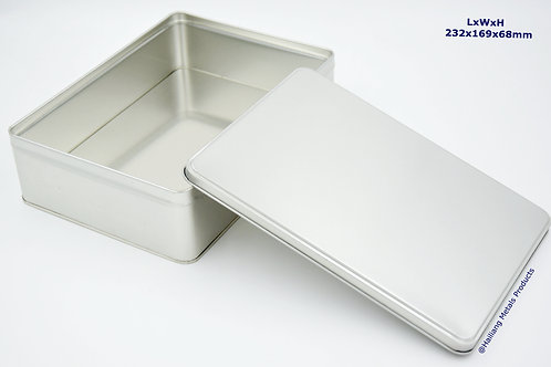 Plain Rectangular Tin Container with Lid