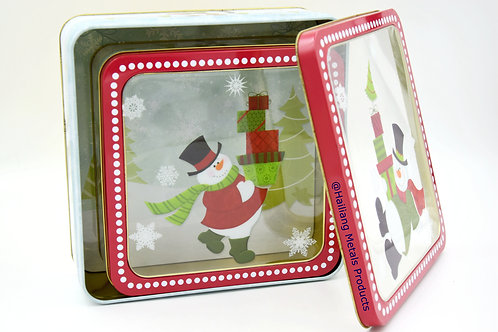 Santa with Gifts, Rectangular Tin Container