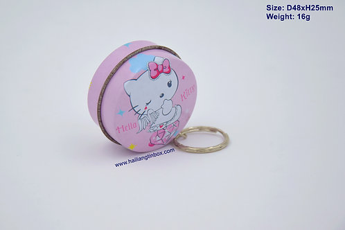 Hello Kitty Round Tin Packaging Key Ring