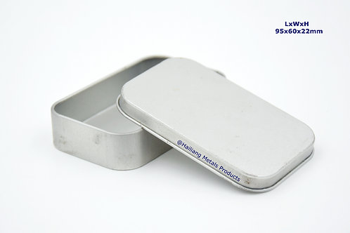 Small Square Tin Container with Lid, Plain