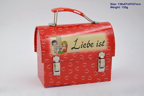 Liebe Ist Tin Tote with Hinged Lid