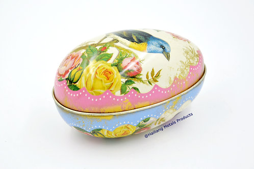 Egg Shaped Vintage Tin Container