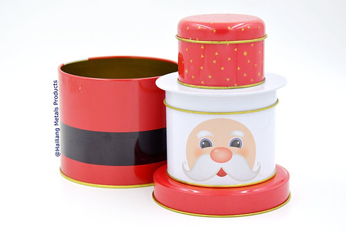 Santa Shaped Tin Container