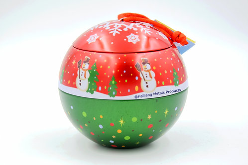Christmas Ball Shaped Tin Container with Lid