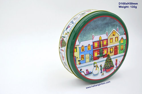Christmas Cookie Round Tin Package with Lid