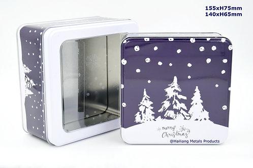 Snowy Christmas Tin Box, Storage Tin, 2pcs/set