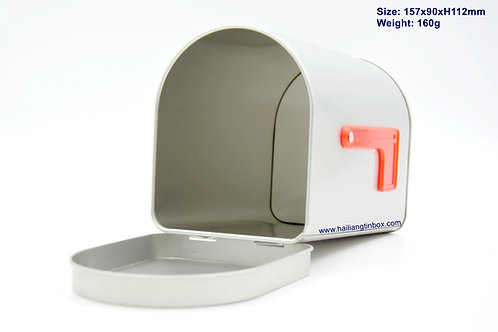 Mailbox Shape Tin Container with Hinged Lid