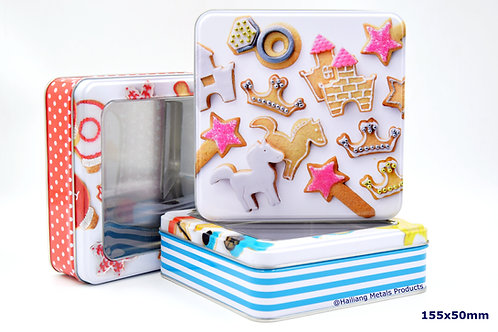 Square Colorful Cookie Storage Container with Lid