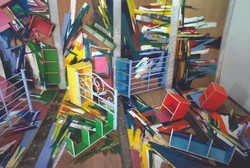Art-ificial Being No. 1, 2011, acrylic, oil, crayon, wood panels, wood shelves, and bed frame, 240 x