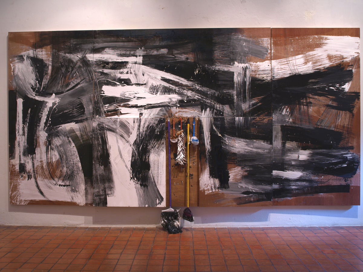 Objects and Life no.7, oil, acrylic, mop, harrow, and toilet brush on wood, 250 x 270 cm., 2011 (no