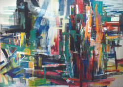 Art-ificial Being No. 3, 2011, acrylic, oil, enamel, and crayon on canvas, 270 x 375 cm..JPG