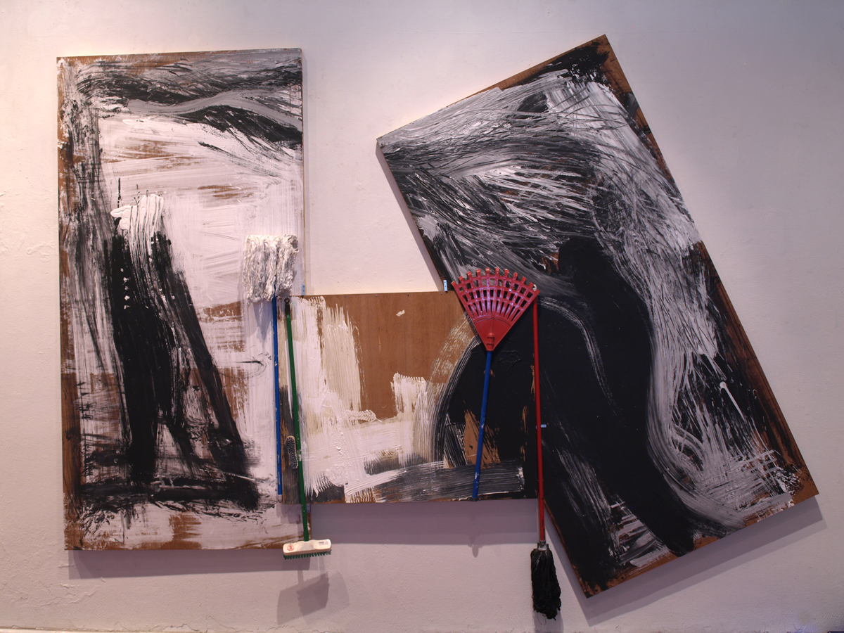 Objects and Life no.6, oil, acrylic, mop, feather duster, and toilet brush on wood, 240 x 480 cm., 2