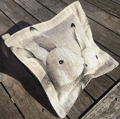 Sachet de lavande de Provence, toile de lin lapins câlins