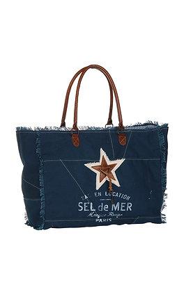 "Grand Sac toile bleu marine ""Sel de Mer"""