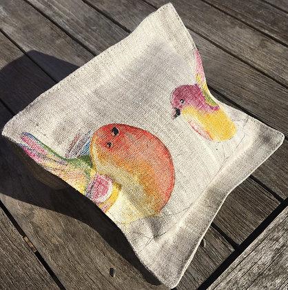 Sachet de lavande de Provence, toile de lin oiseaux de printemps