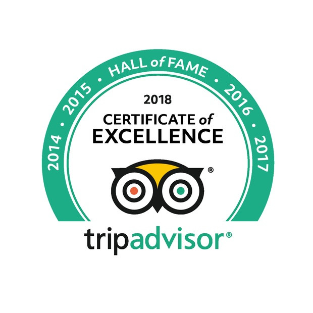 TripAdvisor Hall Of Fame Award for 5 years Certificate Of Excellence Awards