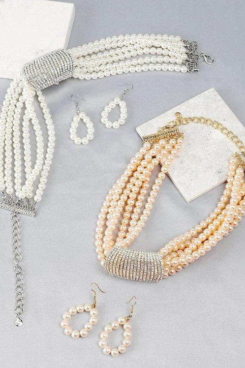 Classy Pearl Necklace-set