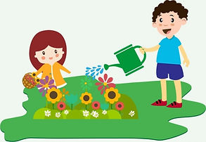 children_planting_flowers_theme_colorful