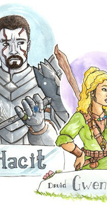 Single Character Waist-Up Watercolor & Ink