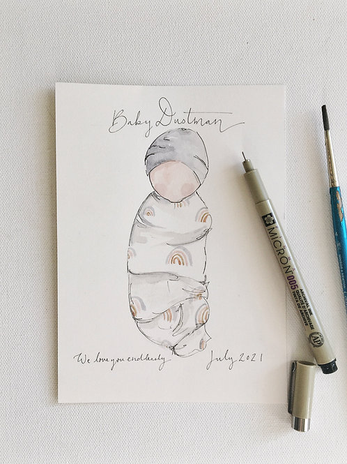 Custom Blanket and Headpiece Baby Painting