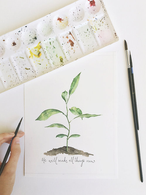 """""""He Will Make All Things New"""" Watercolor Print"""
