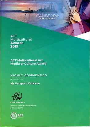 ACT Multicutural Award 2019 Certificate.