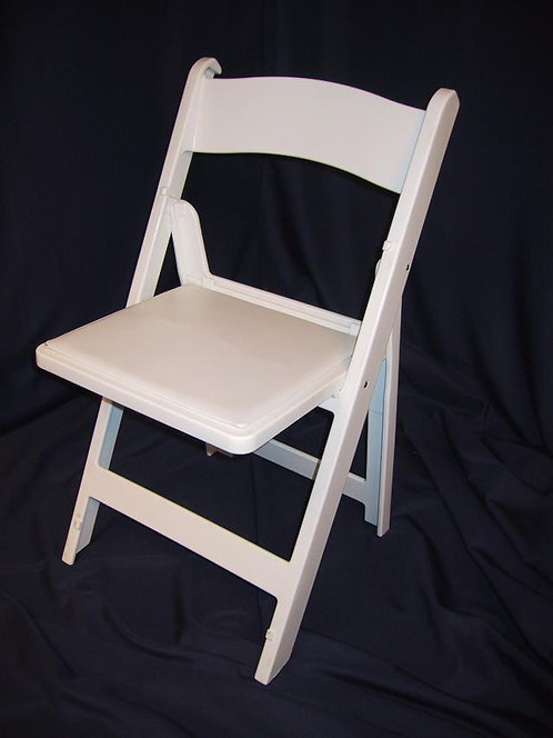 White Wood-Look Chair w/ Pad
