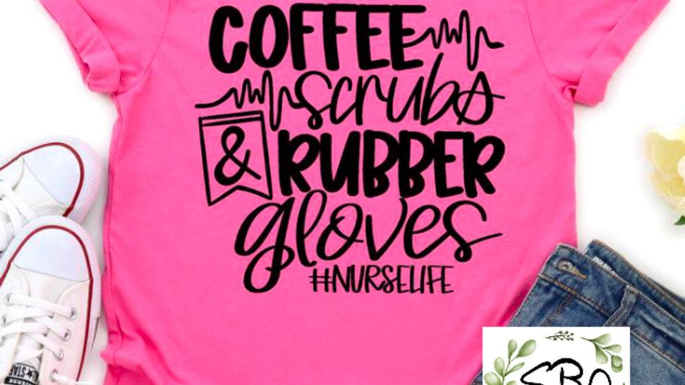 Coffee, Scrubs, Rubber Gloves
