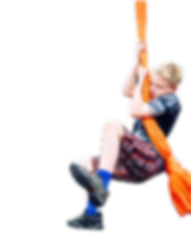 Boy swinging on silks